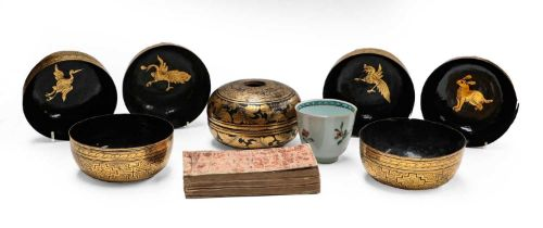 A 19th century Chinese famille rose beaker, six Chinese lacquered and gilt bowls, similar box and