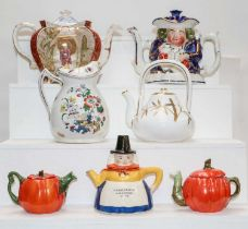 A quantity of 19th century and later English teapots to include two Victorian Asthetic examples,