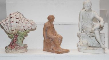 A 19th century Parian figure in Sevres style, study of a seated Roman boy, together with a