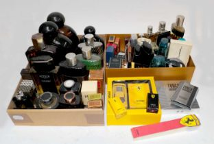 Assorted mainly gents factices and scent bottles including Chevignon, Balenciaga, Paco Robane,