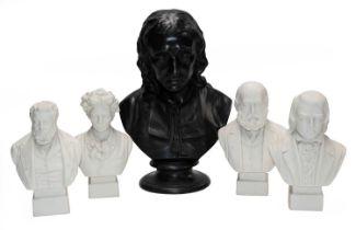 A Wedgwood black basalt bust of John Milton, impressed marks, 34.5cm, together with four other