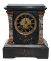 A Victorian black slate and marble striking mantel clockCondition report: The case with some small