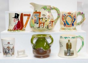 A quantity of Crown Devon musical pottery items including Auld Lang Syne jug, John Peel, George VI