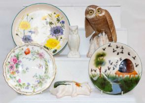 A Spode model Little Owl, together with a Belleek model of an owl, Griselda Hill Pottery after