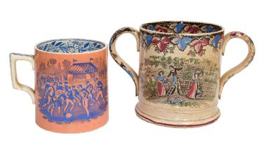 A 19th century Staffordshire pottery tankard printed in blue on a salmon ground with two scenes