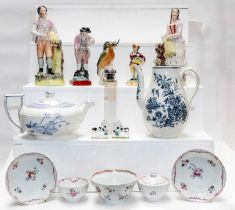 A tray of 18th century and later ceramics including a Worcester blue and white baluster coffee