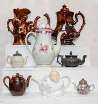 A Late 18th century Pearlware coffee pot, together with a quantity of 19th century teapots to