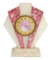 An Art Deco onyx and marble eight-day timepieceCondition report: The base with minor chips to the