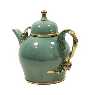 Tobias Harrison (b.1950): An Earthenware Teapot and Cover, pale blue speckled lustre and gold, - Image 7 of 12