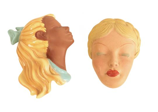 A Mid Century Cortendorf Pottery Wall Mask, modelled as the profile of a young girl with pigtail,