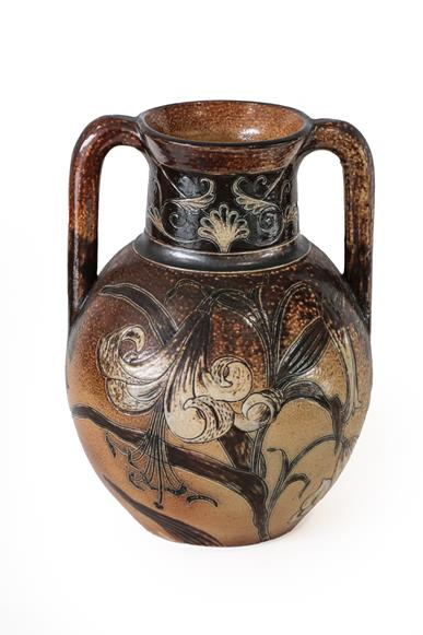 A Martin Brothers Stoneware Twin-Handled Vase, by Robert Wallace Martin, decorated with white - Image 2 of 3