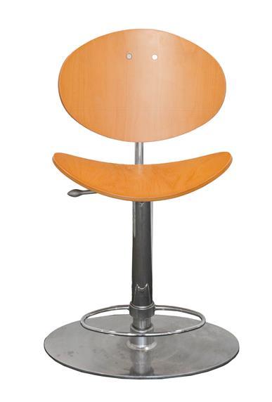 An Arrmet Tamogo Bar Stool, designed by Robby Cantarutti, curved ply seat and back, on a chrome - Image 4 of 4