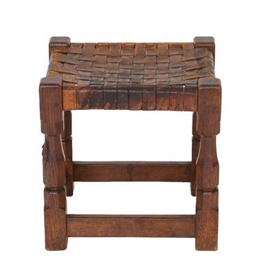 Robert Mouseman Thompson (1876-1955): An English Oak Stool, strap leather top, on four octagonal - Image 5 of 6