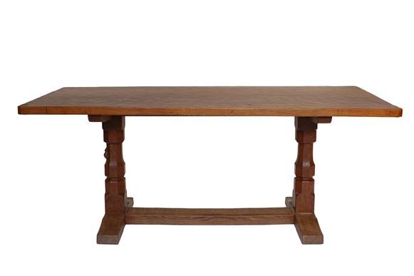 Workshop of Robert Mouseman Thompson (Kilburn): An English Oak 6ft Refectory Dining Table, three-