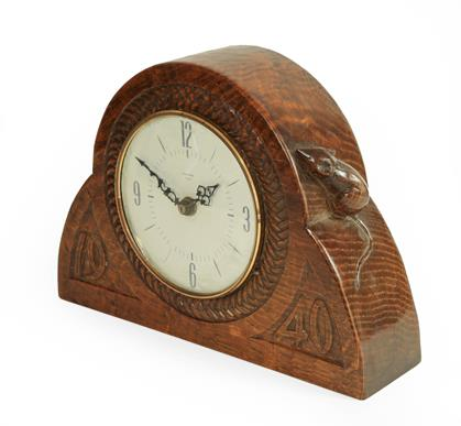 Robert Mouseman Thompson (1876-1955): An English Oak Mantel Clock, dated 1940, the face surrounded - Image 2 of 4