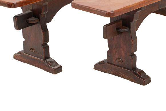 Robert Mouseman Thompson (1876-1955): A Pair of 6ft Oak Benches, on three shaped supports, joined by - Image 2 of 3