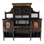 An English Aesthetic Movement Hand Painted and Ebonised Display Cabinet, the superstructure with