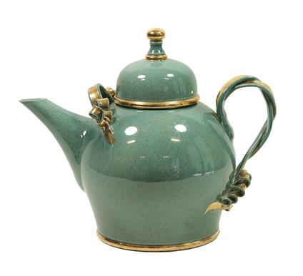 Tobias Harrison (b.1950): An Earthenware Teapot and Cover, pale blue speckled lustre and gold, - Image 6 of 12
