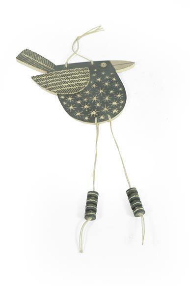 John Clappison: A Hanging Bird Pendant, with cut decoration, signed john Clappison, impressed square