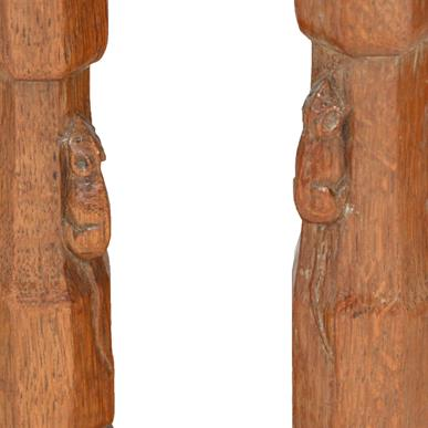 Robert Mouseman Thompson (1876-1955): A Set of Six (4+2) English Oak Panel Back Dining Chairs, - Image 5 of 5