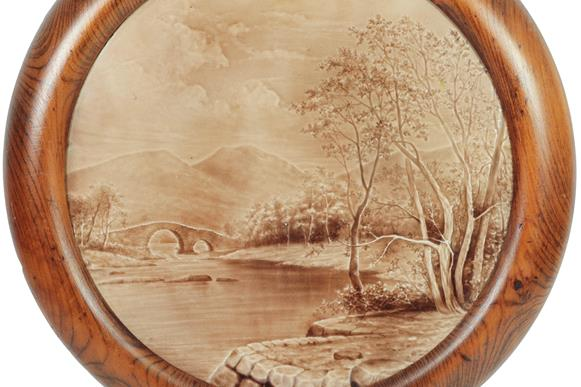 A Burmantofts Faience Circular Wall Plaque, by Harold Leach, model no.1126, modelled in low relief - Image 3 of 4
