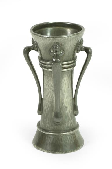 A Liberty & Co: A Tudric Pewter Vase, model No.01214, with four handles, hand beaten, stamped 4 - Image 2 of 3