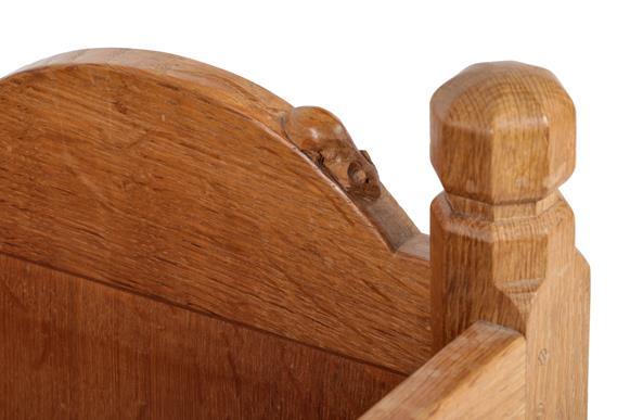 Workshop of Robert Mouseman Thompson (Kilburn): An English Oak Panelled Cradle, with octagonal - Image 2 of 2