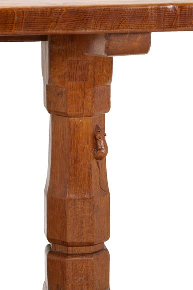 Robert Mouseman Thompson (1876-1955): An English Oak 5'6'' Refectory Table, circa 1940's, three- - Image 2 of 2