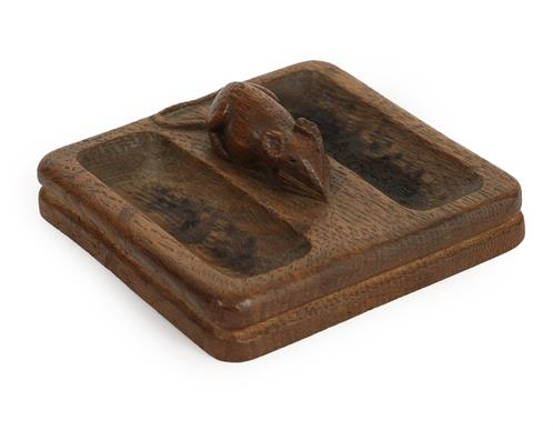 Workshop of Robert Mouseman Thompson (Kilburn): An English Oak Double Pin Tray, of square form, with