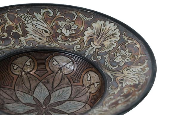 A Martin Brothers Stoneware Bowl, by Robert Wallace Martin, the well decorated with a geometric - Image 2 of 3