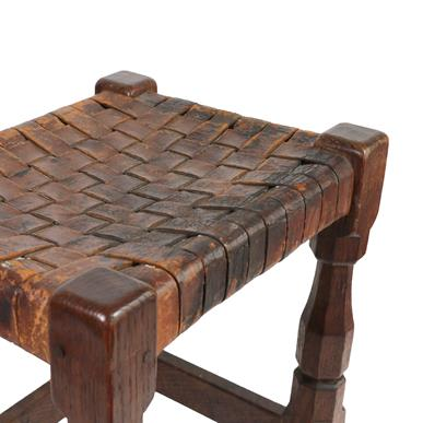 Robert Mouseman Thompson (1876-1955): An English Oak Stool, strap leather top, on four octagonal - Image 4 of 6