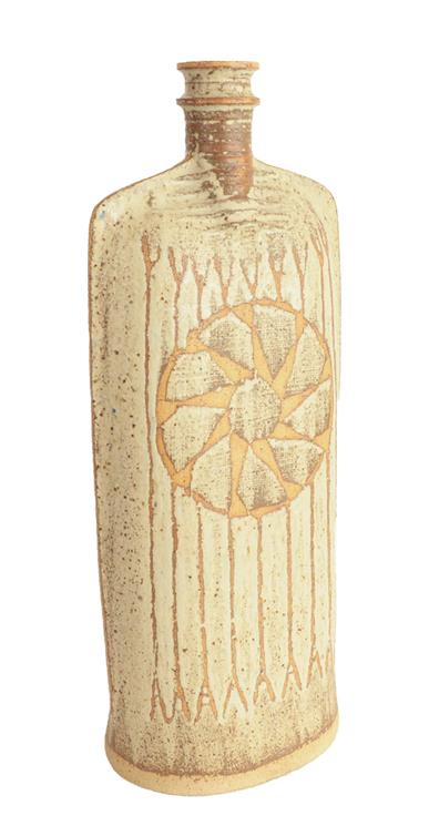 Victor Priem (Latvian, 1925-1989): A Stoneware Flat Bottle, abstract geometric pattern, potter's - Image 2 of 4