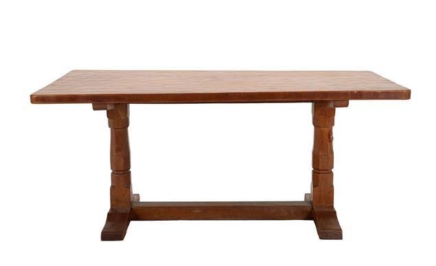 Robert Mouseman Thompson (1876-1955): An English Oak 5'6'' Refectory Table, circa 1940's, three-