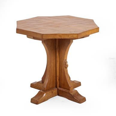 Workshop of Robert Mouseman Thompson (Kilburn): An English Oak Octagonal Coffee Table, adzed top, on