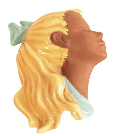 A Mid Century Cortendorf Pottery Wall Mask, modelled as the profile of a young girl with pigtail, - Image 4 of 5
