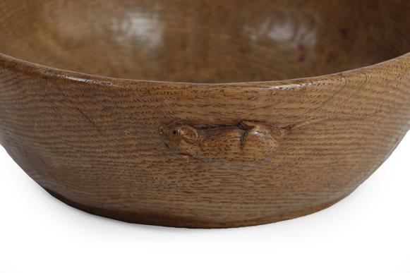 Robert Mouseman Thompson (1876-1955): An English Oak Fruit Bowl, tooled interior and exterior, - Image 3 of 3