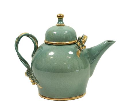 Tobias Harrison (b.1950): An Earthenware Teapot and Cover, pale blue speckled lustre and gold, - Image 9 of 12