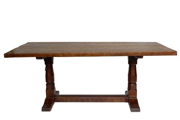 Workshop of Robert Mouseman Thompson (Kilburn): An English Oak 6ft Refectory Dining Table, four-