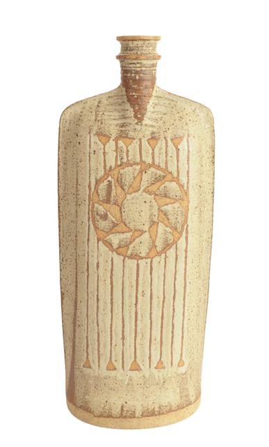 Victor Priem (Latvian, 1925-1989): A Stoneware Flat Bottle, abstract geometric pattern, potter's