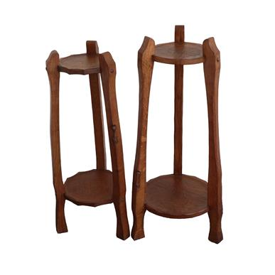 Longneckcatman: Chris Checksfield (Whitby): Two Oak Plant Stands, each with two tiers, on three