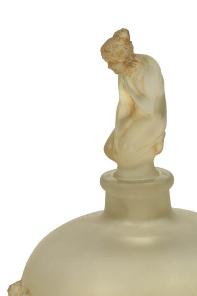 René Lalique (French, 1860-1945): A Frosted and Sepia Stained Douse Figurines Avec Bouchon - Image 2 of 4