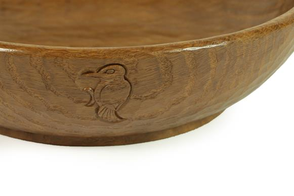 Woodpeckerman: Stan Dodds (1928-2012): An English Oak Fruit Bowl, tooled interior and exterior, with - Image 2 of 3
