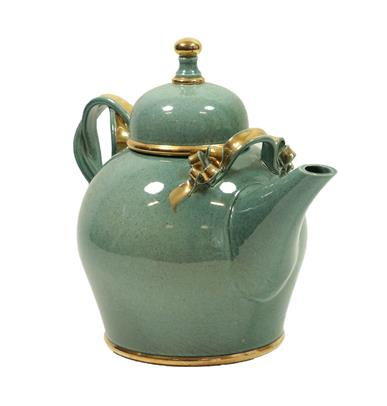 Tobias Harrison (b.1950): An Earthenware Teapot and Cover, pale blue speckled lustre and gold, - Image 10 of 12