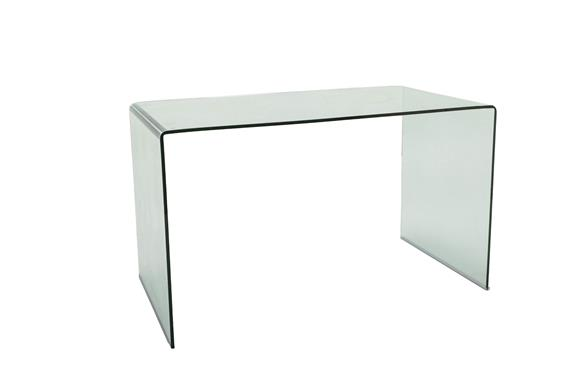 A Dwell Tempered Glass Console Desk, rectangular three sided, labelled, 126cm by 70cm, 74cm high
