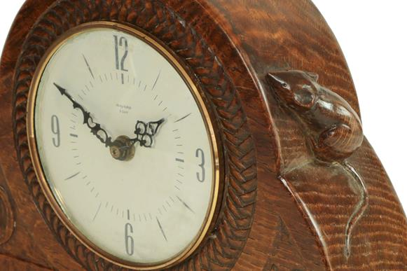 Robert Mouseman Thompson (1876-1955): An English Oak Mantel Clock, dated 1940, the face surrounded - Image 4 of 4