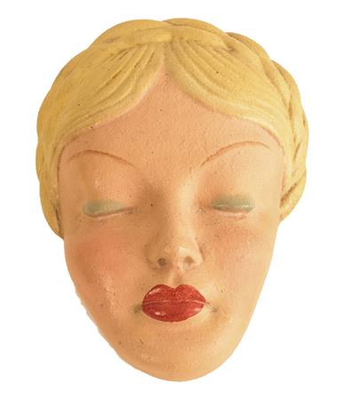 A Mid Century Cortendorf Pottery Wall Mask, modelled as the profile of a young girl with pigtail, - Image 2 of 5
