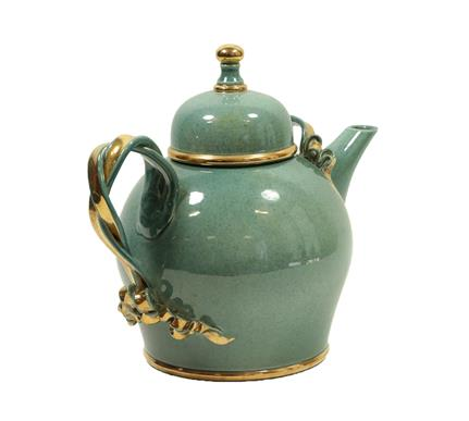 Tobias Harrison (b.1950): An Earthenware Teapot and Cover, pale blue speckled lustre and gold, - Image 8 of 12