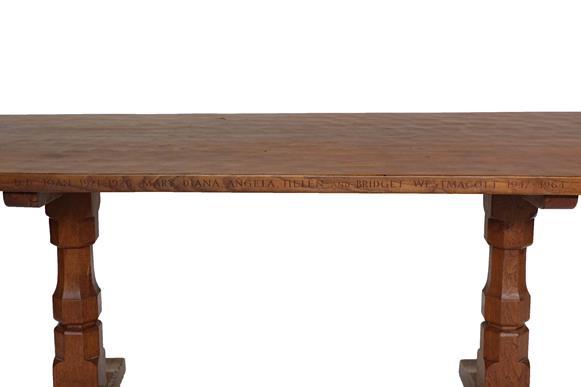 Workshop of Robert Mouseman Thompson (Kilburn): An English Oak 6ft Refectory Dining Table, three- - Image 3 of 3