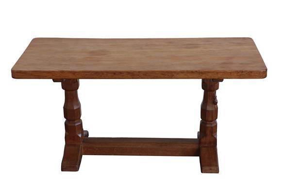 Workshop of Robert Mouseman Thompson (Kilburn): An English Oak 3ft Refectory Coffee Table, the