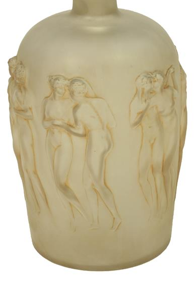René Lalique (French, 1860-1945): A Frosted and Sepia Stained Douse Figurines Avec Bouchon - Image 3 of 4